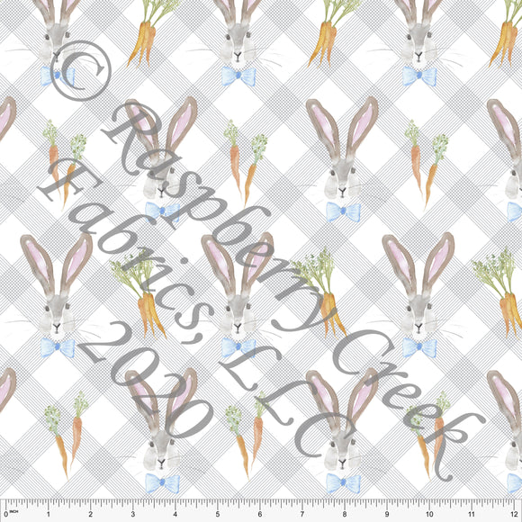 Blue Orange Grey and Green Watercolor Easter Bunny Plaid By Kelsey Shaw for Club Fabrics - Raspberry Creek Fabrics