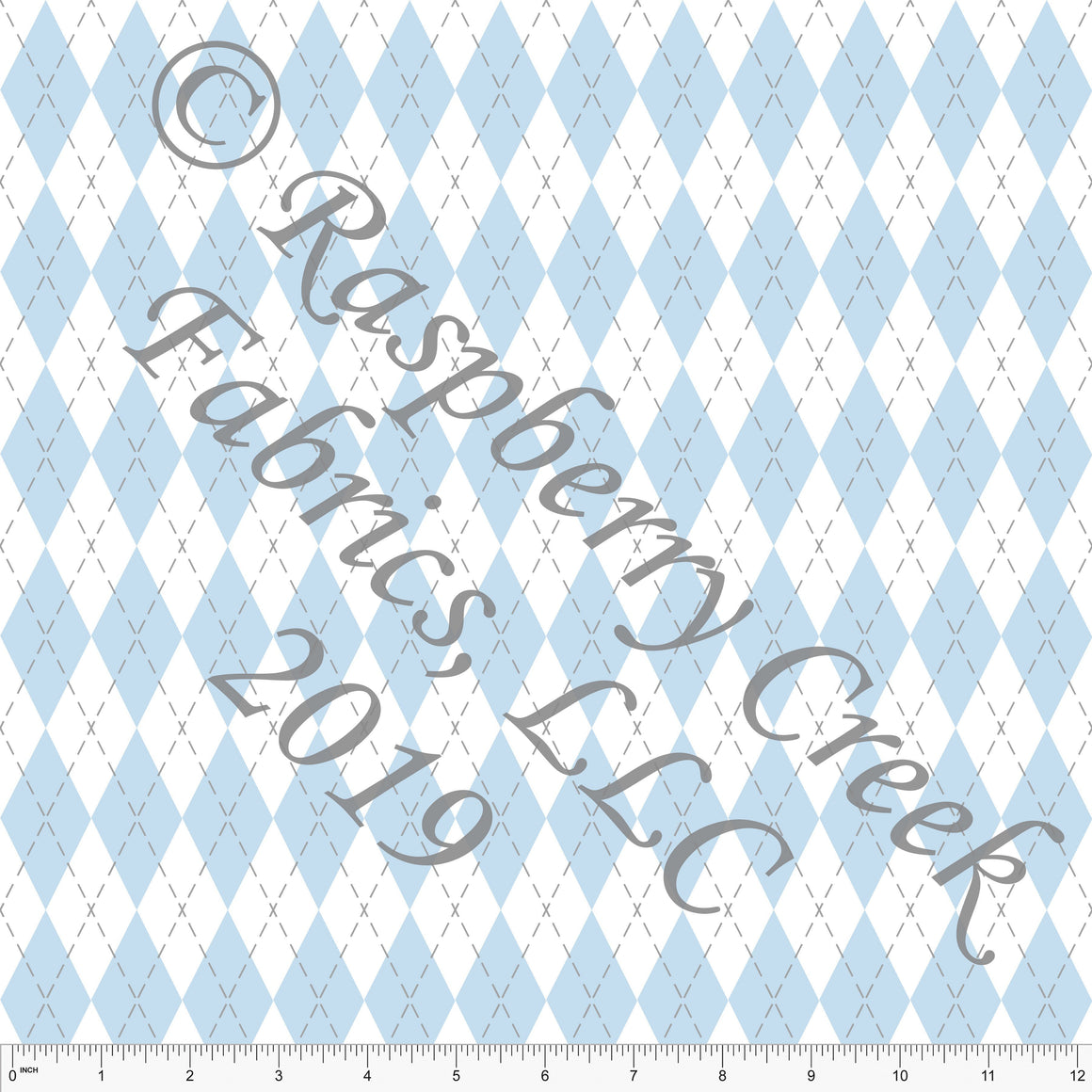 Light Blue and Grey Geometric Argyle 4 Way Stretch FRENCH TERRY Knit, Easter By McKenzie Powell for CLUB Fabrics - Raspberry Creek Fabrics
