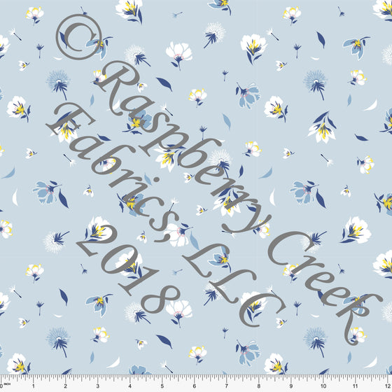 Light Blue Yellow and White Petal Dandelion Floral Rayon Challis, 1 Yard