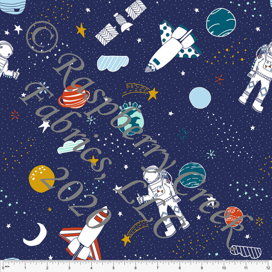Navy Red Teal Mustard and Blue Space Planet Moon Print 4 Way Stretch Double Brushed Poly Knit Fabric, By Kimberly Henrie for CLUB Fabrics