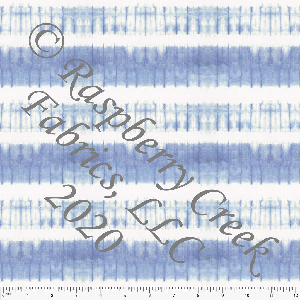 Tonal Blue Tie Dye Stripe Print Double Brushed Poly Knit Fabric, CLUB Fabrics - Raspberry Creek Fabrics
