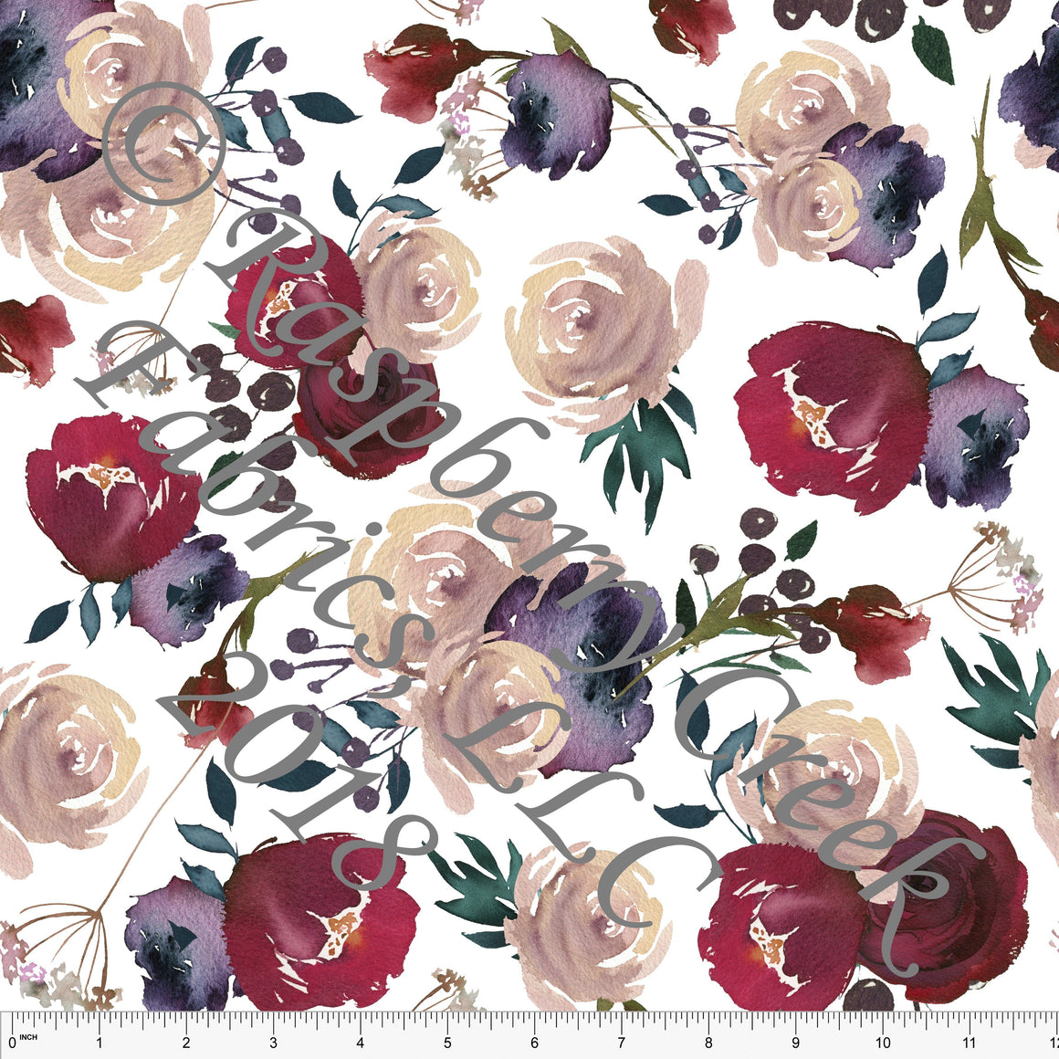 Burgundy Blush Teal and Eggplant Watercolor Floral 4 Way Stretch Jersey Knit Fabric, Retro Greys for Club Fabrics