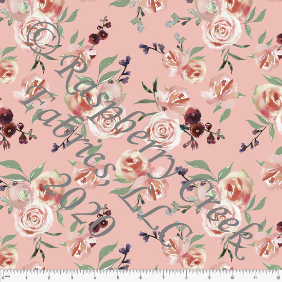 Blossom Pink Plum Burgundy and Sage Floral Print 4 Way Stretch MATTE SWIM Knit Fabric, Club Fabrics - Raspberry Creek Fabrics
