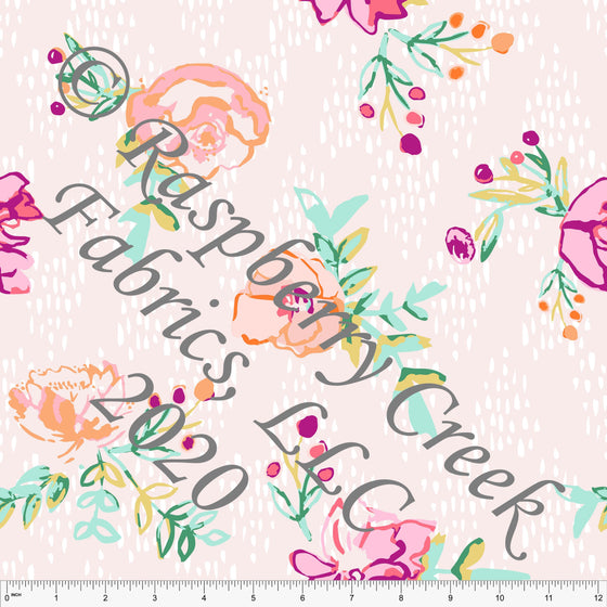 Magenta Mint Coral and Pink Floral Print Double Brushed Poly Knit Fabric, By Kimberly Henrie for CLUB Fabrics - Raspberry Creek Fabrics