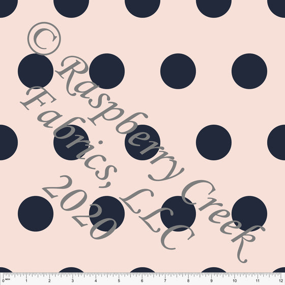 Light Peach and Navy Blue Large Polka Dot Print Double Brushed Poly Knit Fabric, By Kimberly Henrie for CLUB Fabrics - Raspberry Creek Fabrics