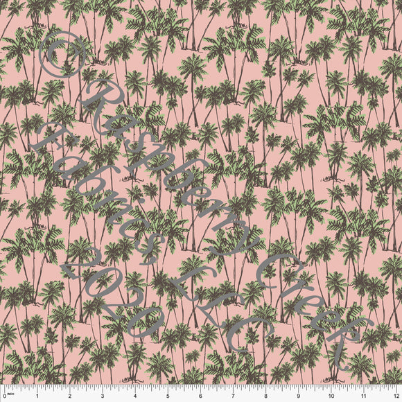 Blossom Pink and Sage Palm Tree Print for Club Fabrics - Raspberry Creek Fabrics