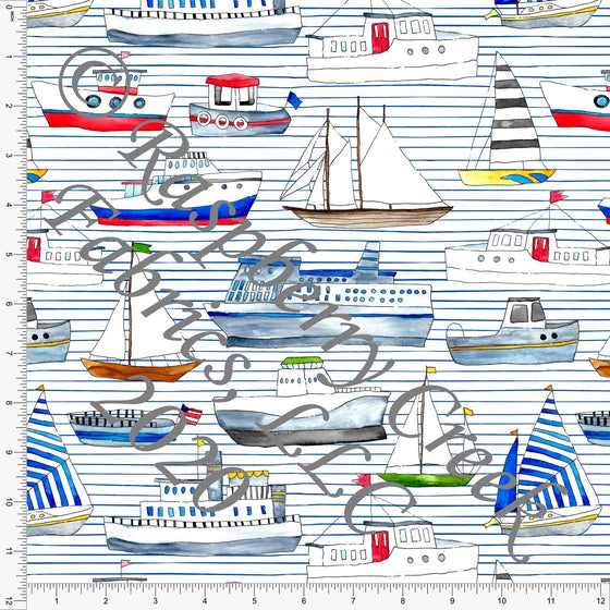 Royal Blue Red Green and Grey Micro Stripe Boats, Things That Go By Brittney Laidlaw for Club Fabrics - Raspberry Creek Fabrics