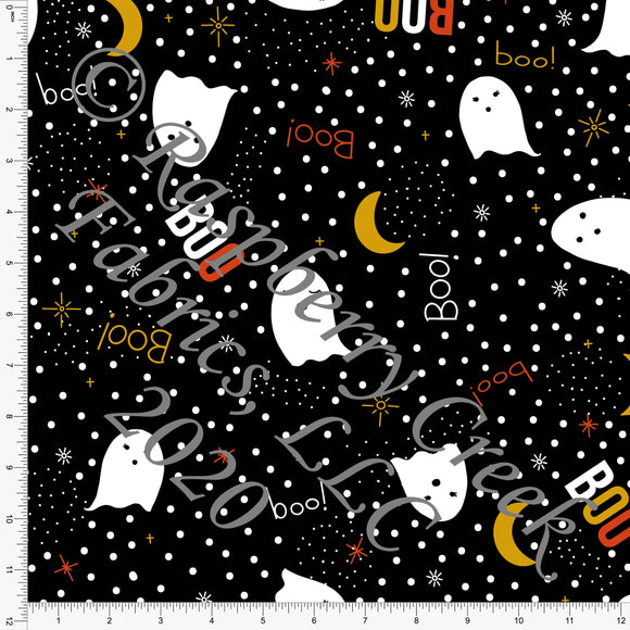 Black Rust Mustard and White Polka Dot Ghost Double Brushed Poly Knit Fabric, By Kimberly Henrie for Club Fabrics - Raspberry Creek Fabrics