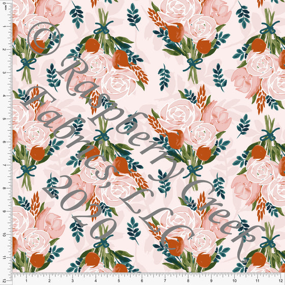 Peach Deep Teal Mauve and Green Floral Bouquet Print Double Brushed Poly Knit Fabric, Garden Florals By Lisa Mabey for CLUB Fabrics - Raspberry Creek Fabrics