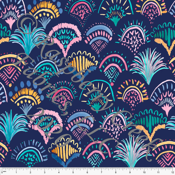 Bright Navy Pink Yellow and Teal Geometric Fan Print 4 Way Stretch MATTE SWIM Knit Fabric, By Kelsey Shaw for Club Fabrics - Raspberry Creek Fabrics
