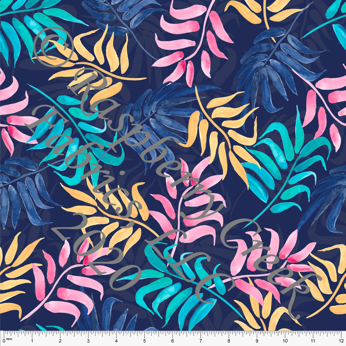 Bright Navy Pink Yellow and Teal Palm Leaves Print By Kelsey Shaw for Club Fabrics - Raspberry Creek Fabrics