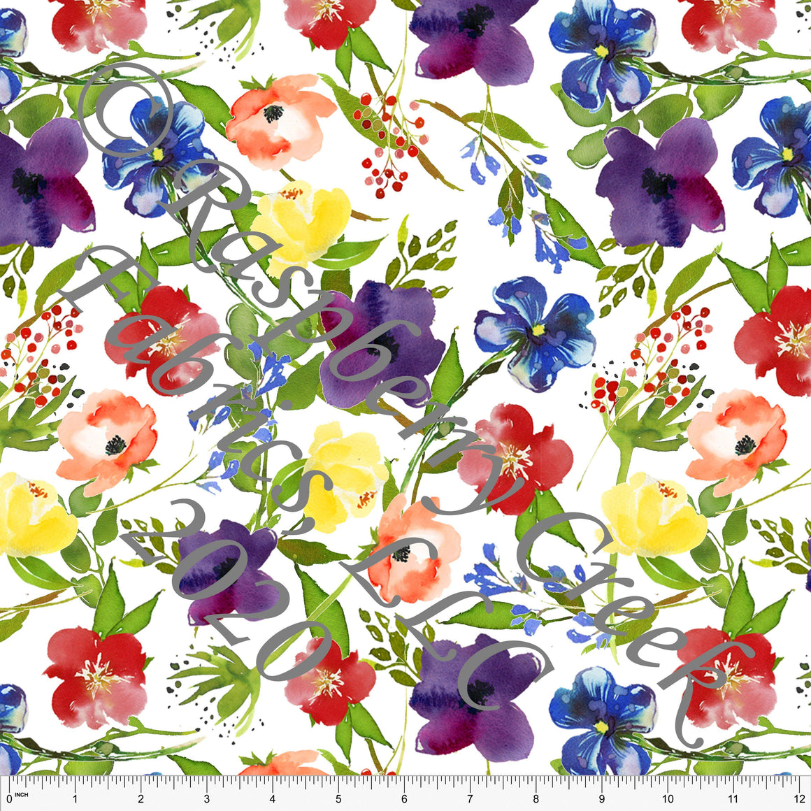 Eggplant Royal Blue Yellow Red and Green Watercolor Pansy Floral, Club Fabrics - Raspberry Creek Fabrics