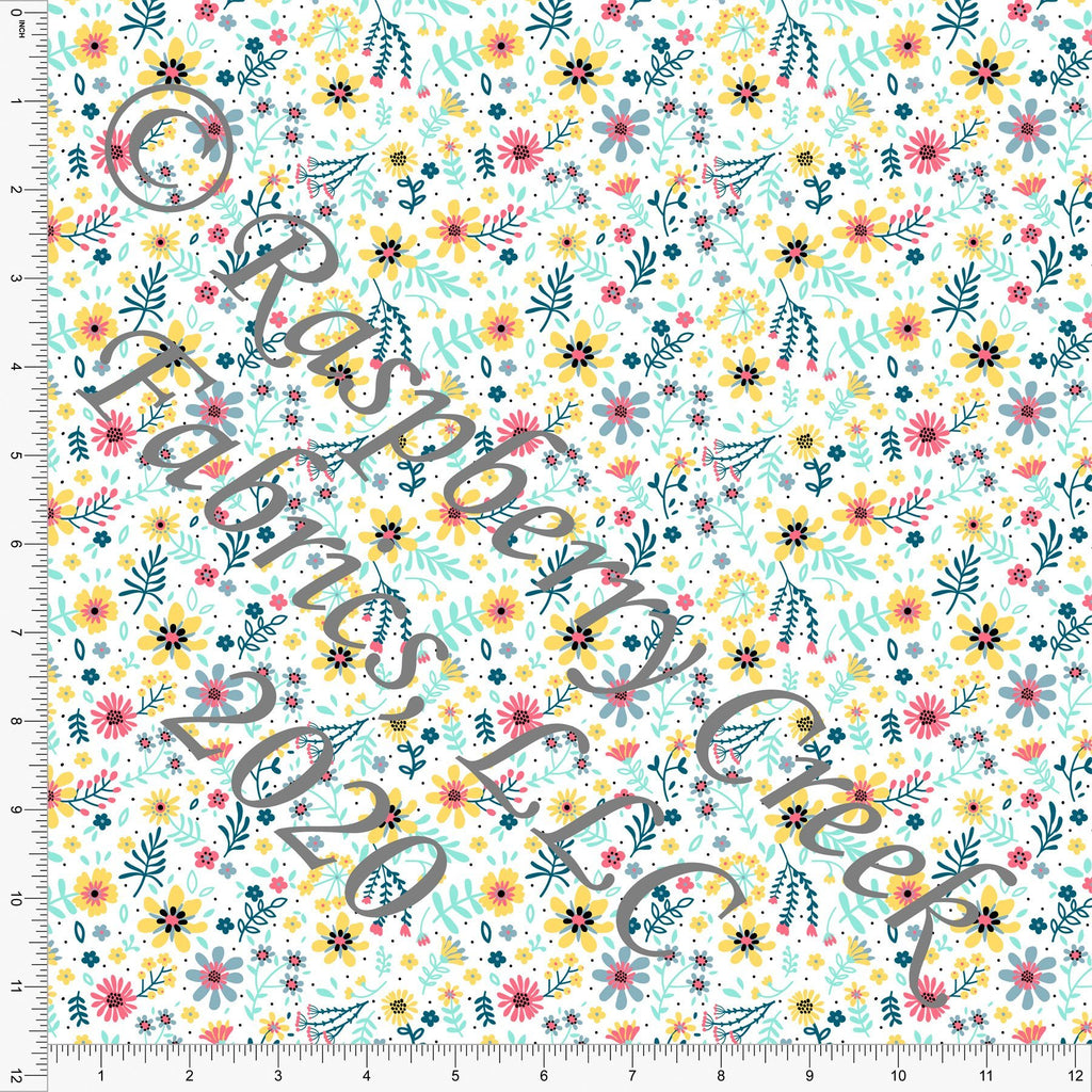 Salmon Mint Teal and Yellow Tossed Bright Spring Floral, Spring Florals for Club Fabrics - Raspberry Creek Fabrics