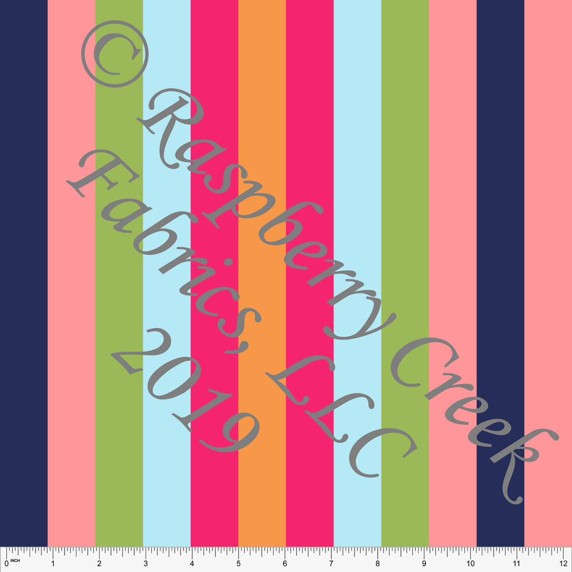Navy Coral Green Fuchsia Orange and Light Blue Vertical Multi Stripe 4 Way Stretch MATTE SWIM Knit Fabric, Club Fabrics - Raspberry Creek Fabrics