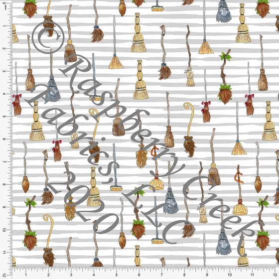 Tonal Brown Red and Green Brooms on Grey Stripes, Fall Into Halloween By Brittney Laidlaw for Club Fabrics - Raspberry Creek Fabrics
