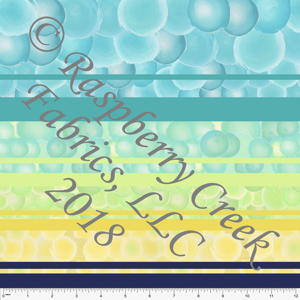 Yellow Green Teal and Navy Bubble Stripe 4 Way Stretch MATTE SWIM Knit Fabric, By Elise Peterson for Club Fabrics