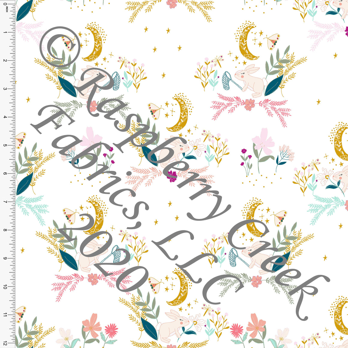 Mustard Teal Mint Coral and Sage Bunny Patch Print, By Kimberly Henrie for Club Fabrics - Raspberry Creek Fabrics