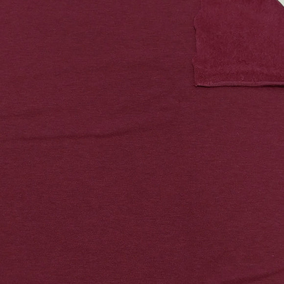 Burgundy Lyocell Organic Cotton Spandex 4 Way Stretch Sweatshirt Fleece, 1 Yard - Raspberry Creek Fabrics