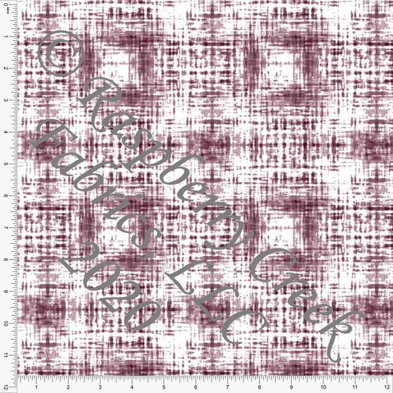 Tonal Burgundy Shibori Crosshatch Print Double Brushed Poly Knit Fabric, CLUB Fabrics - Raspberry Creek Fabrics