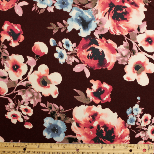 Burgundy Blue and Coral Floral Double Brushed Poly Spandex Knit, 1 yard