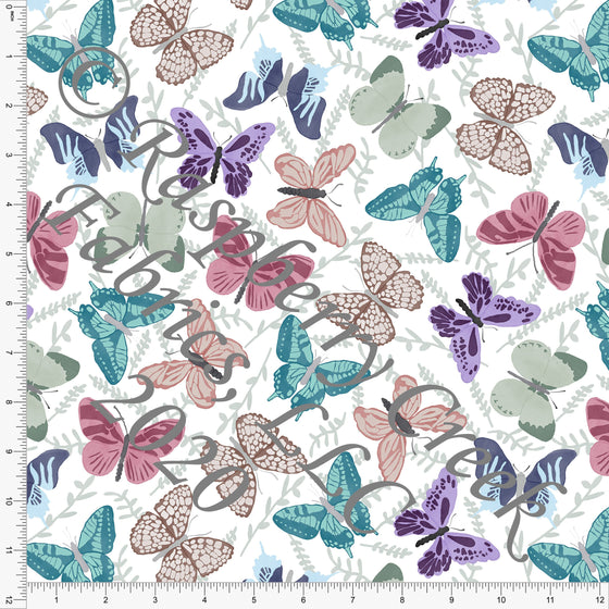Sage Mauve Eggplant and Teal Tonal Butterflies, Bugs by Brittney Laidlaw for Club Fabrics - Raspberry Creek Fabrics