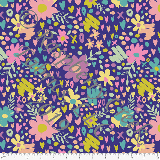 Purple Seafoam Peach Sage and Salmon Butterfly Kisses Heart Floral 4 Way Stretch Double Brushed Poly, By Kimberly Henrie for CLUB Fabrics