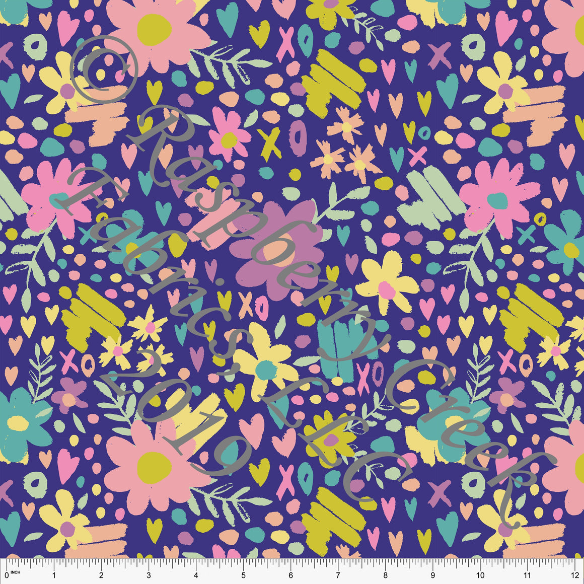Purple Seafoam Peach Sage and Salmon Butterfly Kisses Heart Floral 4 Way Stretch Double Brushed Poly, By Kimberly Henrie for CLUB Fabrics - Raspberry Creek Fabrics