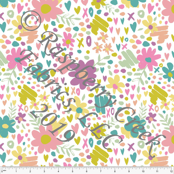 Seafoam Peach Sage and Salmon Butterfly Kisses Heart Floral, By Kimberly Henrie for Club Fabrics