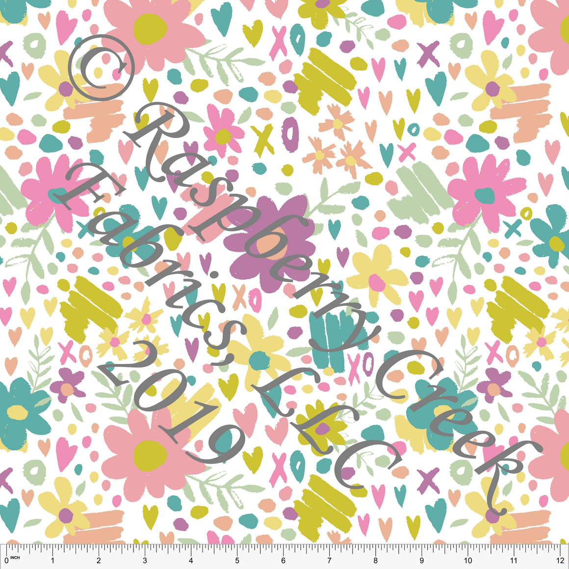 Seafoam Peach Sage and Salmon Butterfly Kisses Heart Floral, By Kimberly Henrie for Club Fabrics - Raspberry Creek Fabrics