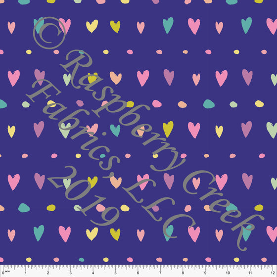 Purple Seafoam Peach Sage and Salmon Butterfly Kisses Heart Dot Stripe 4 Way Stretch Double Brushed Poly, By Kimberly Henrie for CLUB Fabrics