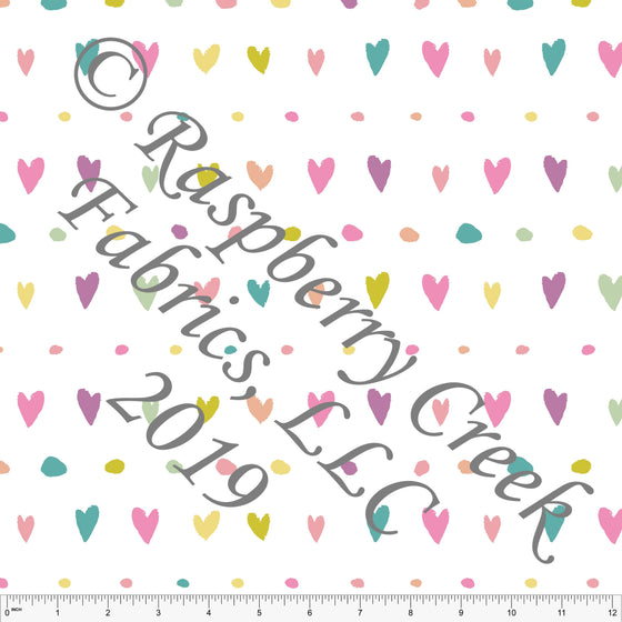 Seafoam Peach Sage and Salmon Butterfly Kisses Dot Heart Stripe, By Kimberly Henrie for Club Fabrics