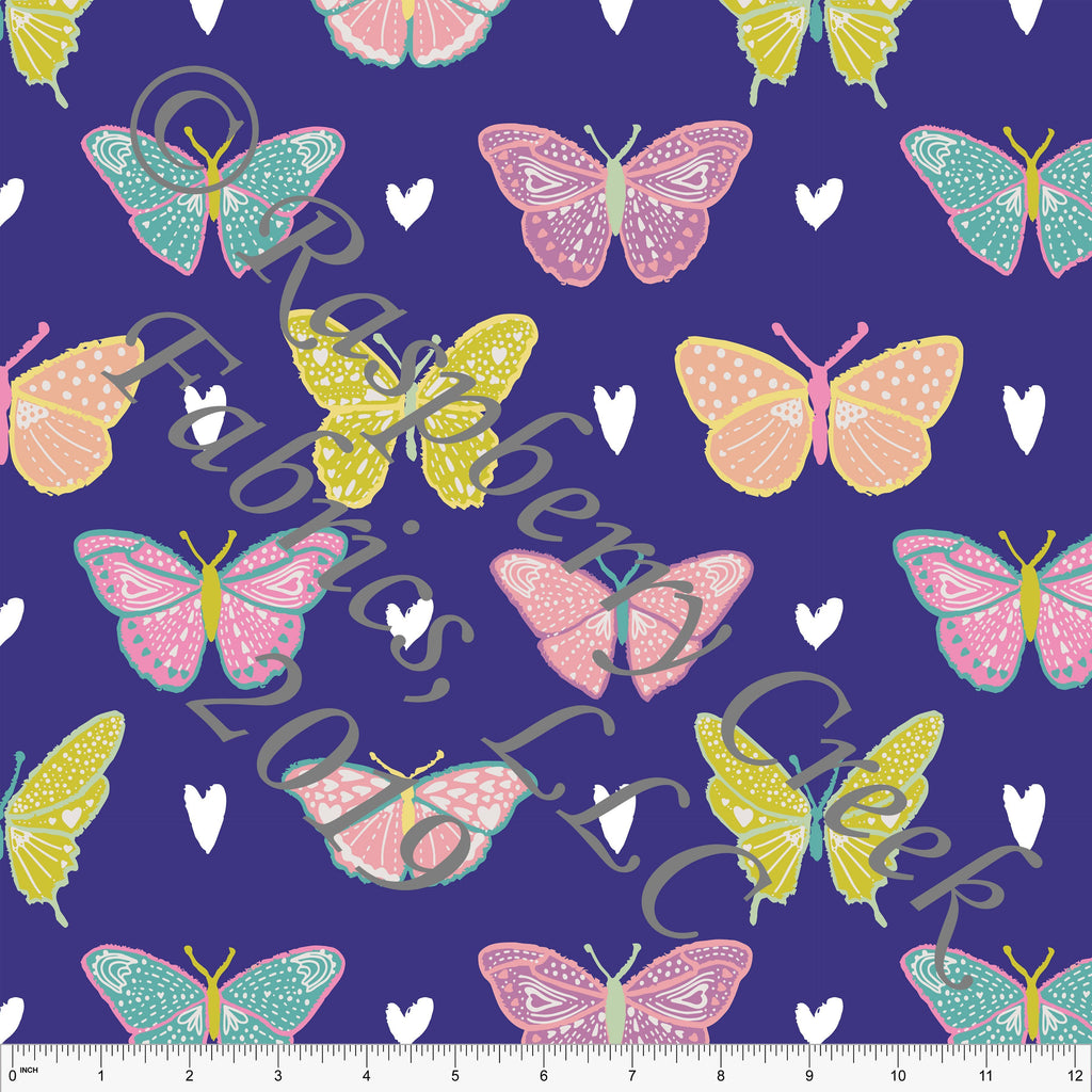 Purple Seafoam Peach and Salmon Butterfly Kisses Heart Butterfly 4 Way Stretch Double Brushed Poly, By Kimberly Henrie for CLUB Fabrics - Raspberry Creek Fabrics