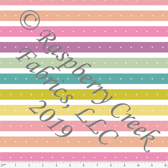 Seafoam Sage Salmon and Peach Butterfly Kisses Dot Stripe 4 Way Stretch Double Brushed Poly, By Kimberly Henrie for CLUB Fabrics