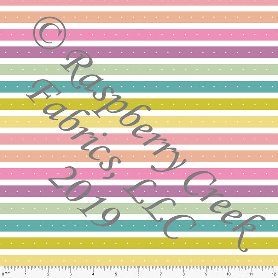 Seafoam Sage Salmon and Peach Butterfly Kisses Dot Stripe, By Kimberly Henrie for Club Fabrics
