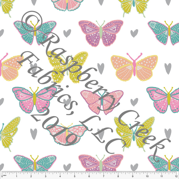 Seafoam Peach Sage Grey and Salmon Butterfly Kisses Heart Butterfly, By Kimberly Henrie for Club Fabrics