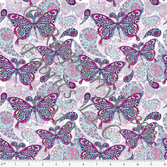 Magenta Mint Yellow and Pink Butterfly 4 Way Stretch Double Brushed Poly Knit Fabric, By Elise Peterson for CLUB Fabrics - Raspberry Creek Fabrics