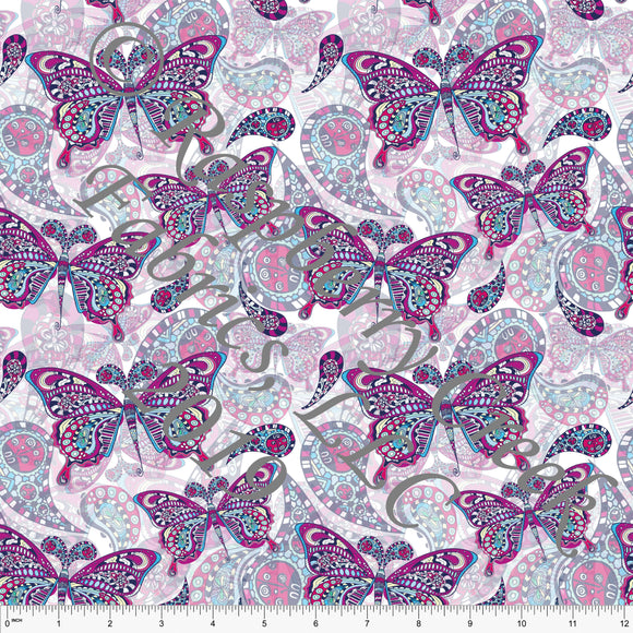 Magenta Mint Yellow and Pink Butterfly 4 Way Stretch Double Brushed Poly Knit Fabric, By Elise Peterson for CLUB Fabrics