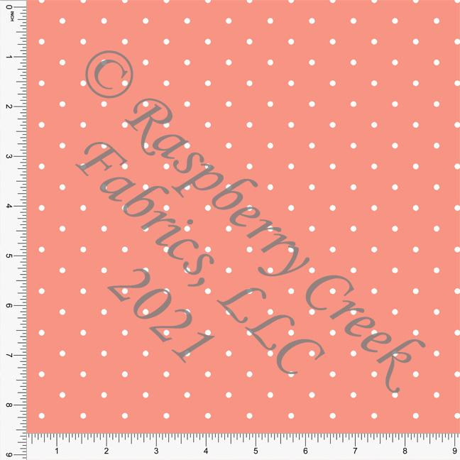 Coral and White Pin Polka Dot Print, Cotton Basics for Club Fabrics Raspberry Creek Fabrics