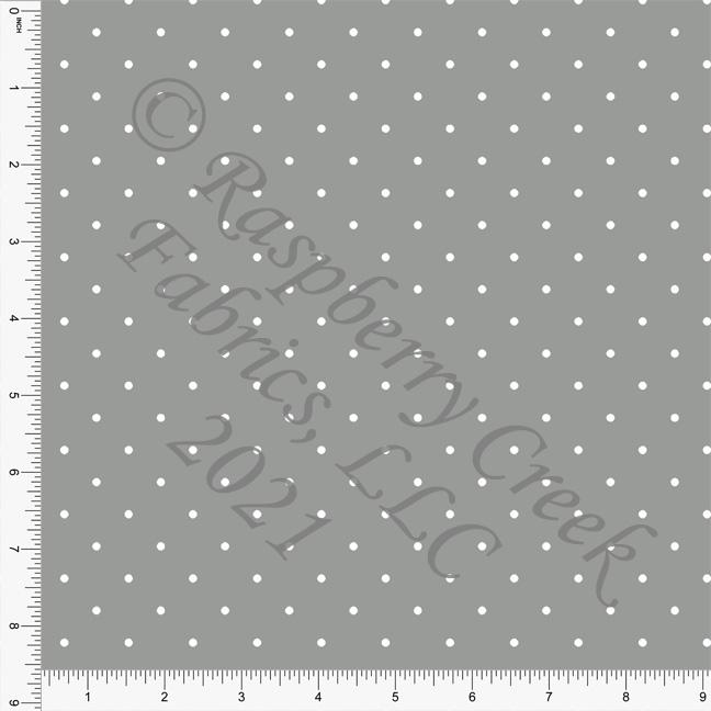 Grey and White Pin Polka Dot Print, Cotton Basics for Club Fabrics Raspberry Creek Fabrics