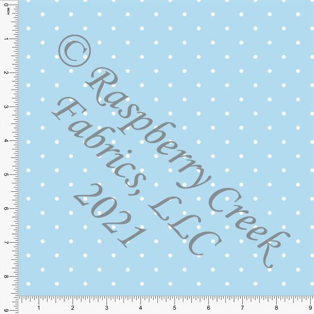 Light Blue and White Pin Polka Dot Print, Cotton Basics for Club Fabrics Raspberry Creek Fabrics