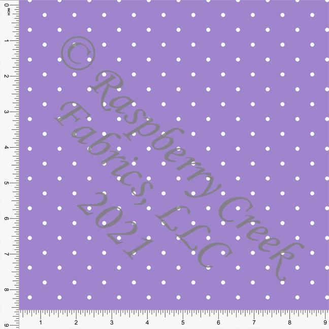 Lilac and White Pin Polka Dot Print, Cotton Basics for Club Fabrics Raspberry Creek Fabrics