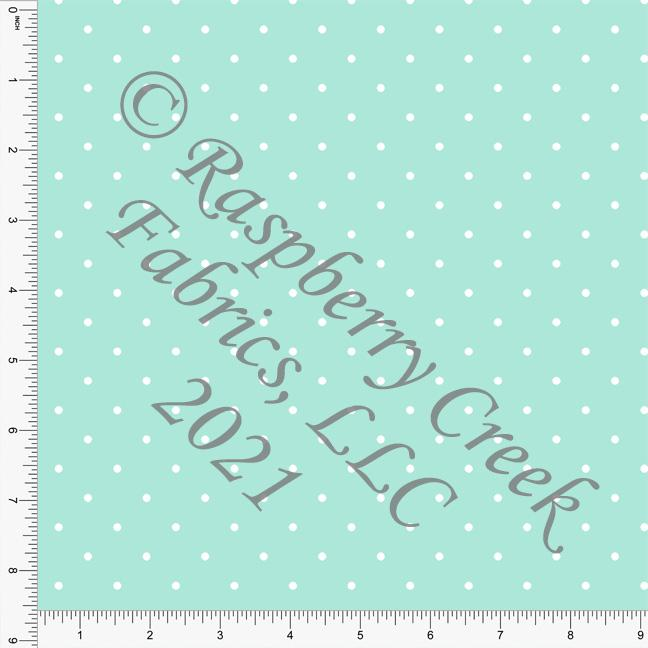 Mint and White Pin Polka Dot Print, Cotton Basics for Club Fabrics Raspberry Creek Fabrics