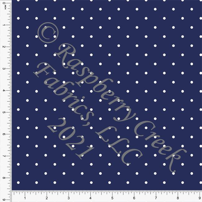 Navy and White Pin Polka Dot Print, Cotton Basics for Club Fabrics Raspberry Creek Fabrics