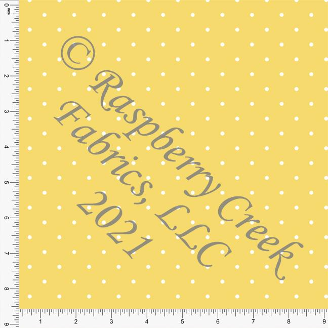 Yellow and White Pin Polka Dot Print, Cotton Basics for Club Fabrics Raspberry Creek Fabrics