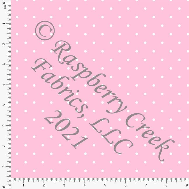 Pink and White Pin Polka Dot Print, Cotton Basics for Club Fabrics Raspberry Creek Fabrics