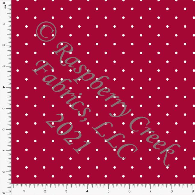 Red and White Pin Polka Dot Print, Cotton Basics for Club Fabrics Raspberry Creek Fabrics