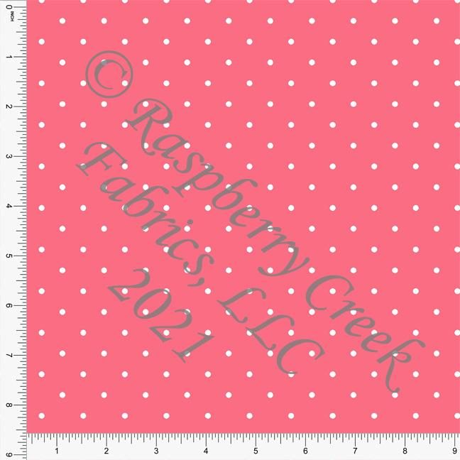 Salmon and White Pin Polka Dot Print, Cotton Basics for Club Fabrics Raspberry Creek Fabrics