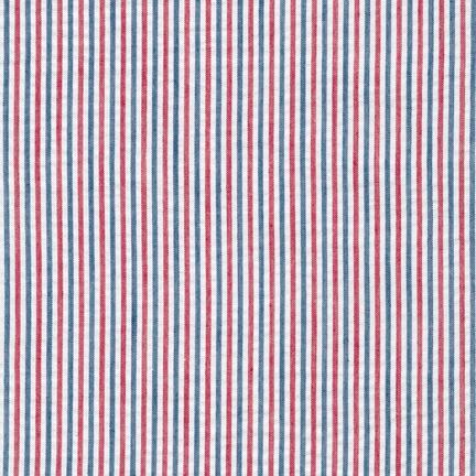 Red White and Navy Blue Pin Stripe Seersucker, Robert Kaufman Seersucker Collection Collection, 1 Yard