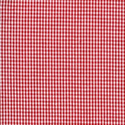 Red and White Mini Check Gingham Seersucker, Robert Kaufman Seersucker Collection Collection, 1 Yard