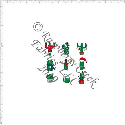 Green Red Blue and Grey Christmas Cactus Panel By Brittney Laidlaw for Club Fabrics - Raspberry Creek Fabrics